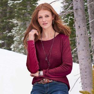 Sundance Valyria Velvet Ribbed Pullover Sweater S